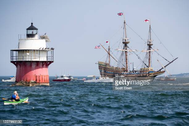 The replica ship Mayflower II passes Bug light while it heads back to Plymouth Harbor after being rehabbed in Connecticut for the past three years on...