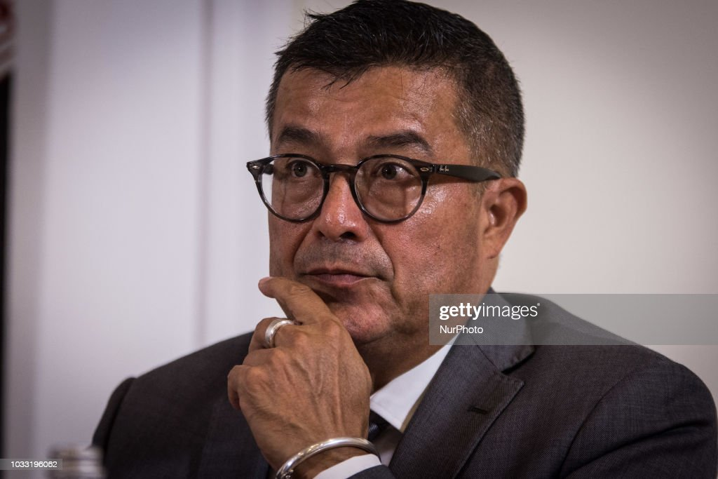 the representative for southern Europe of the UN agency, Felipe Camargo during press conference UN High Commissioner for Refugees Filippo Grandi meets the journalists at the foreign press in Rome, September,14 2018 in Rome, Italy.