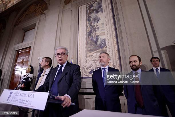 The Representative of Democratic Party Ettore Rosato Luigi Zanda Lorenzo Guerini Matteo Orfini speak to the media after leaving the President Sergio...