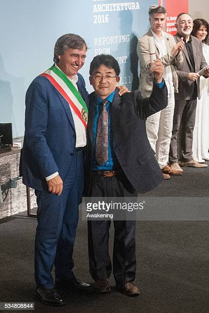 The representative of Japan receives the special mention as the National Participation at the official opening ceremony of the 15th Biennale of...