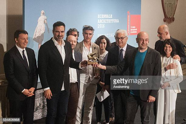 The representative of Spain receives the Golden Lion for Best National Participation at the official opening ceremony of the 15th Biennale of...