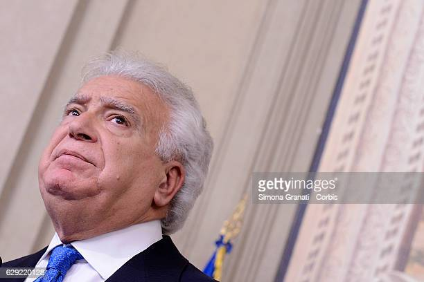 The Representative of the 'Alascelta civica party Denis Verdini speaks to the media after leaving the President Sergio Mattarella study during the...