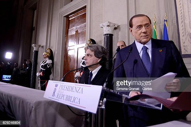 The Representative of the 'Forza Italia' Party Silvio Berlusconi and Renato Brunetta speak to the media after leaving the President Sergio Mattarella...