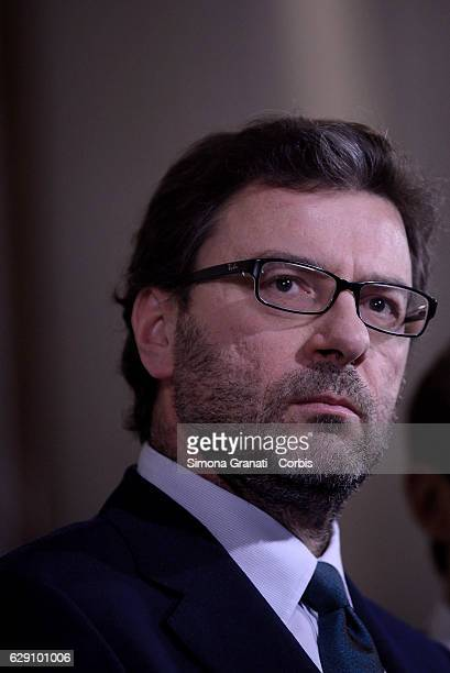 The representative of the Northern League Giancarlo Giorgetti leaves the President Sergio Mattarella studio during the second day of talks with...