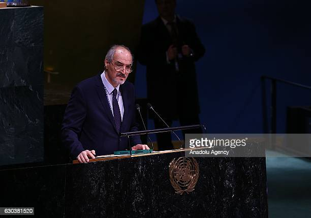 The Representative of the Syrian Arab Republic to the United Nations Bashar alJaafari delivers a speech during the UN General Assembly meeting in New...