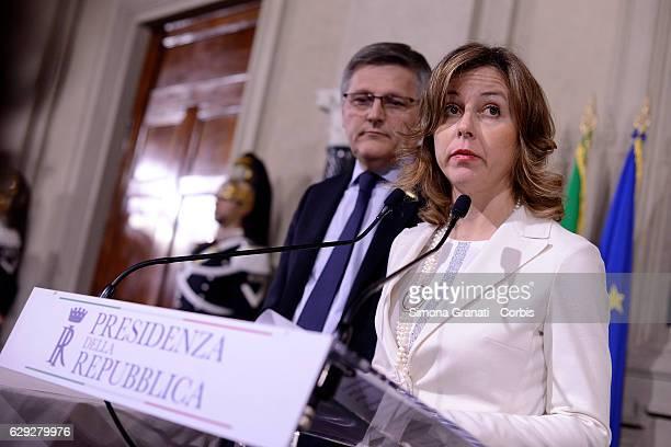 The Representatives of 5 Star MovementLuigi Gaetti and Giulia Grillo speak to the media after leaving the President Sergio Mattarella study during...