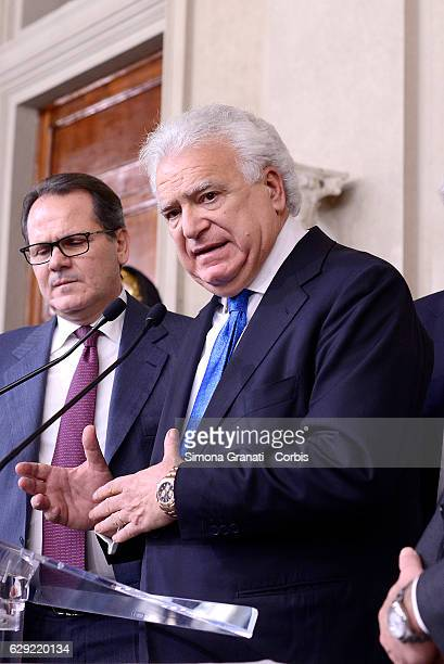 The Representatives of the 'Alascelta civica party Denis Verdini speaks to the media after leaving the President Sergio Mattarella study during the...