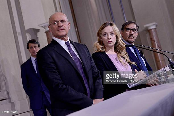 The Representatives of the 'Brothers of Italy' Party Fabio Rampelli Giorgia Meloni and Ignazio La Russa speak to media after leaving the President...