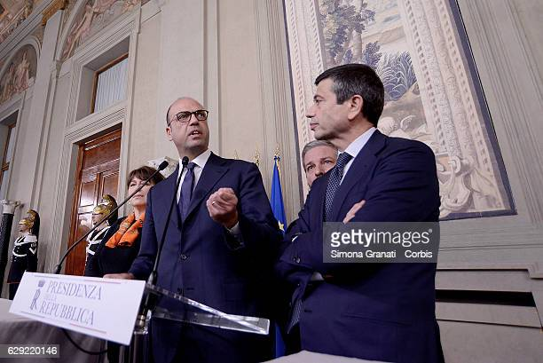 The Representatives of the 'Nuovo Centro Destra' Party Angelino Alfano and Maurizio Lupi speak to the media after leaving the President Sergio...
