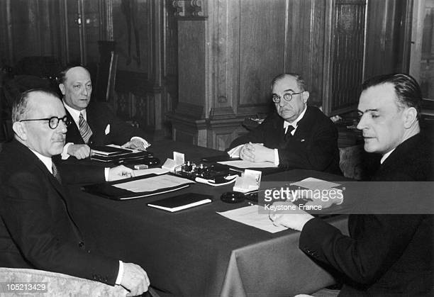 The Representatives Of Turkey Yugoslavia Greece And Romania Linked By The Balkan Pact Of 1934 Gathering For A Conference In Belgrade Yugoslavia On...