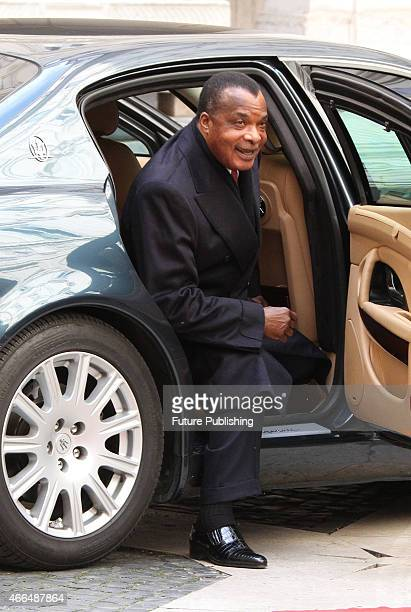 The Republic of Congo's President Denis Sassou Nguesso arrives at Palazzo Chigi on February 26 2015 in Rome Italy Marco Ravagli / Barcroft Media