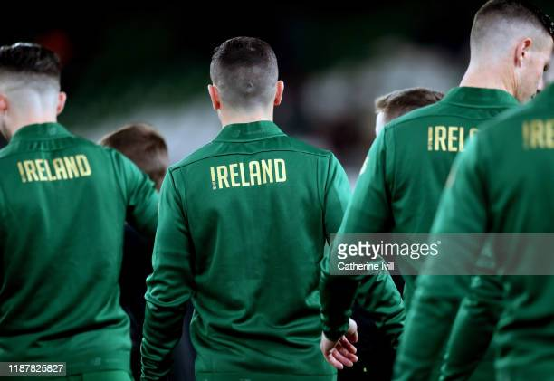 The Republic of Ireland of Irelandd team make their way out to the pitch ahead of the International Friendly match between Republic of Ireland and...