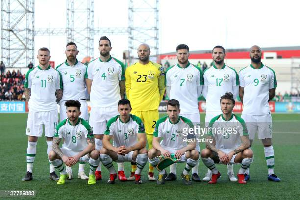 The Republic of Ireland team line up before the 2020 UEFA European Championships group D qualifying match between Gibraltar and Republic of Ireland...