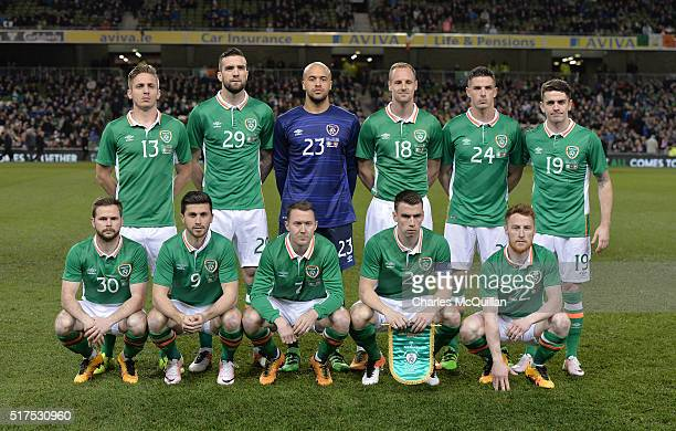 The Republic of Ireland team line up before the international friendly match between the Republic of Ireland and Switzerland at Aviva Stadium on...