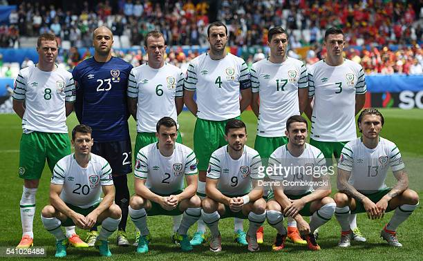 The Republic of Ireland team line up for photos prior to the UEFA EURO 2016 Group E match between Belgium and Republic of Ireland at Stade Matmut...