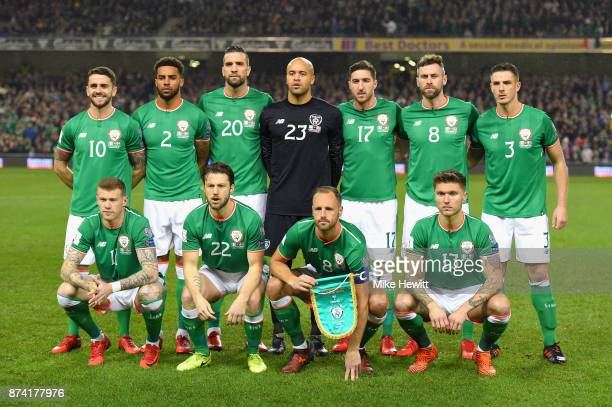 The Republic of Ireland team line up prior to the FIFA 2018 World Cup Qualifier PlayOff Second Leg between Republic of Ireland and Denmark at Aviva...