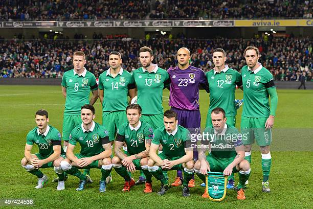 The Republic of Ireland team pose for a tem photograph before the Euro 2016 playoff second leg match between the Republic of Ireland and...