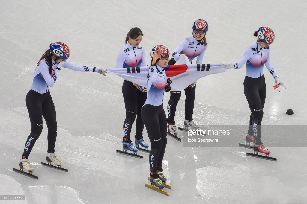 The Republic of Korea celebrates winning the gold medal in the Ladies' 3,000M Relay Final A race during the 2018 Winter Olympic Games at the Gangneung Ice Arena on February 20, 2018 in PyeongChang, South Korea.
