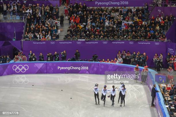 The Republic of Korea celebrates winning the gold medal in the Ladies' 3000M Relay Final A race during the 2018 Winter Olympic Games at the Gangneung...