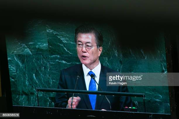 The Republic of Korea's President Moon Jaein addresses the UN General Assembly at the United Nations on September 21 2017 in New York New York Topics...