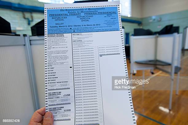 The Republican ballot in the presidential Super Tuesday primary election in the South End of Boston MA on March 6 2012