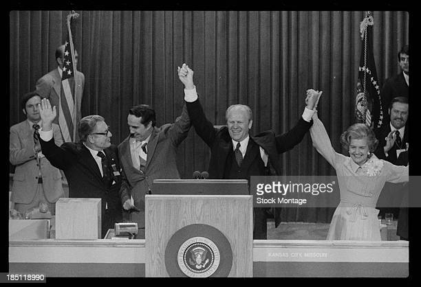 The Republican nominees for the White House celebrate at the Republican National Convention in Kemper Arena Kansas City Missouri August 19 1976...