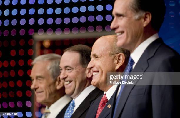 The Republican presidential candidates, U.S. Rep. Ron Paul , former Arkansas governor Mike Huckabee, former New York City Mayor Rudy Giuliani, former...