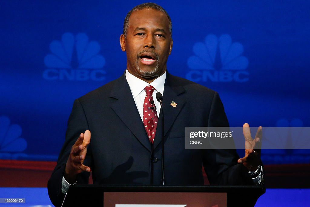 EVENTS -- The Republican Presidential Debate: Your Money, Your Vote -- Pictured: Ben Carsonparticipates in CNBC's 'Your Money, Your Vote: The Republican Presidential Debate' live from the University of Colorado Boulder in Boulder, Colorado Wednesday, October 28th at 6PM