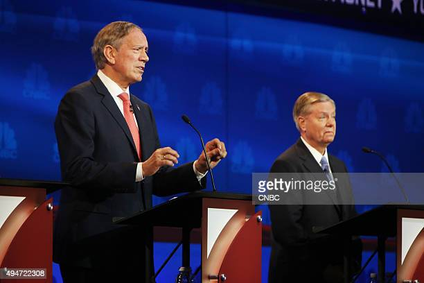 EVENTS The Republican Presidential Debate Your Money Your Vote Pictured George Pataki and Lindsey Graham participate in CNBC's Your Money Your Vote...