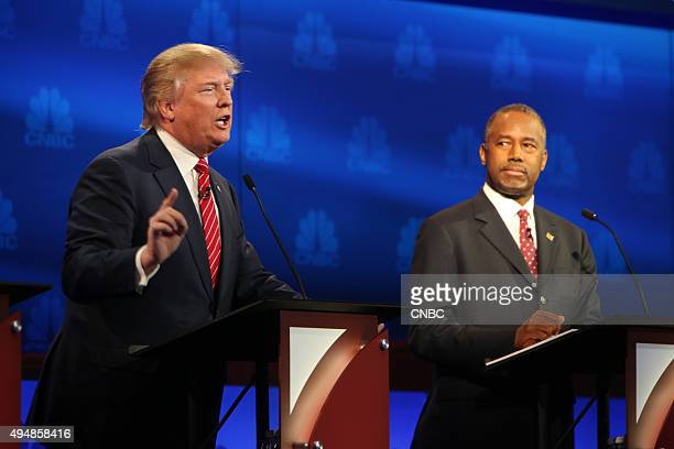 EVENTS The Republican Presidential Debate Your Money Your Vote Pictured Donald Trump and Ben Carson participate in CNBC's Your Money Your Vote The...