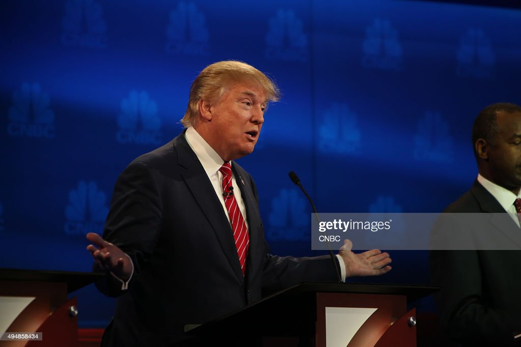 EVENTS -- The Republican Presidential Debate: Your Money, Your Vote -- Pictured: Donald Trump participates in CNBC's 'Your Money, Your Vote: The Republican Presidential Debate' live from the University of Colorado Boulder in Boulder, Colorado Wednesday, October 28th at 6PM