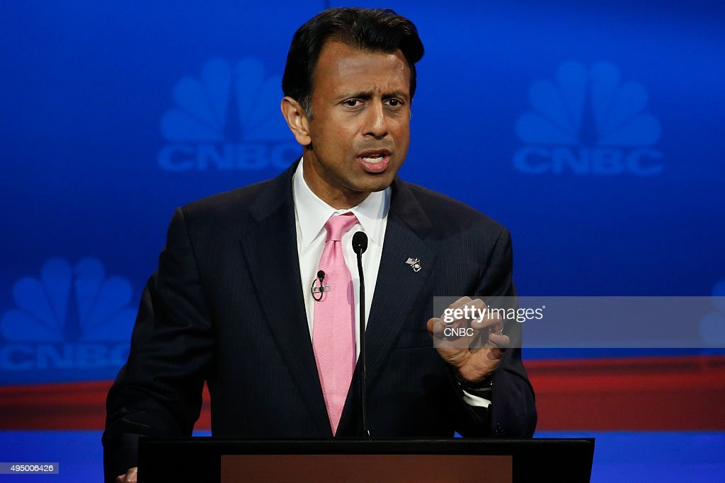 EVENTS -- The Republican Presidential Debate: Your Money, Your Vote -- Pictured: Bobby Jindal participates in CNBC's 'Your Money, Your Vote: The Republican Presidential Debate' live from the University of Colorado Boulder in Boulder, Colorado Wednesday, October 28th at 6PM