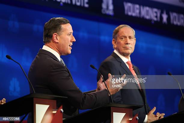 EVENTS The Republican Presidential Debate Your Money Your Vote Pictured Rick Santorum and George Pataki participate in CNBC's Your Money Your Vote...