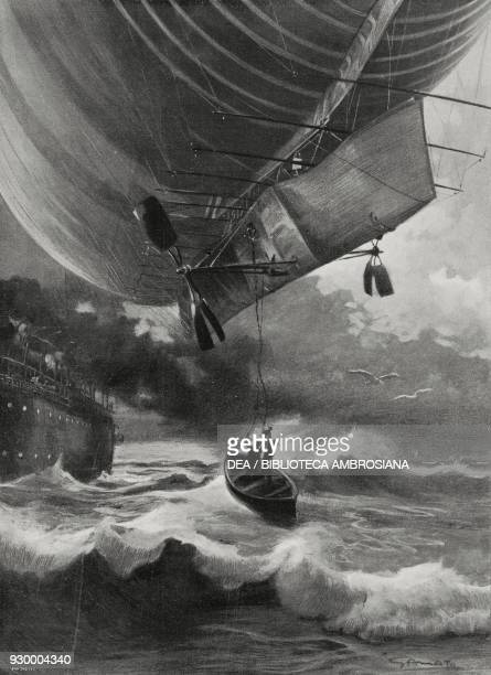 The rescue of the crew of the airship America by the British steamer Trent off the Bermuda Islands October 18 drawing by Gennaro Amato from...