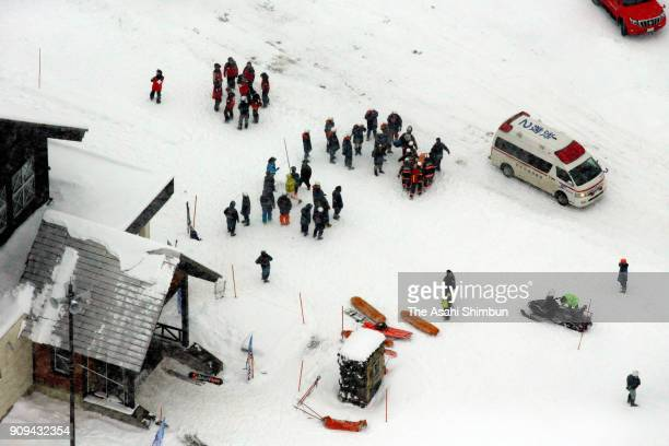 The rescue team is seen on duty at the Kusatsu International Ski Resort on January 23 2018 in Kusatsu Japan KusatsuShirane a 2160meter volcano...