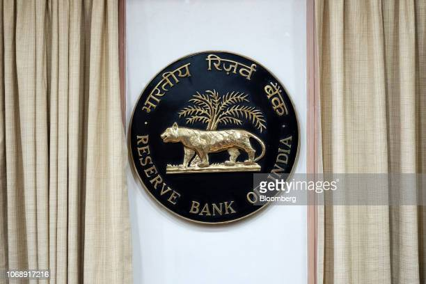 The Reserve Bank of India logo is displayed inside the central bank building in Mumbai India on Wednesday Dec 5 2018 India's central bank kept...