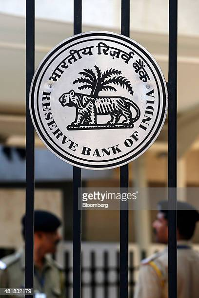 The Reserve Bank of India logo is displayed on a gate at the central bank's headquarters in Mumbai India on Tuesday April 1 2014 Indias central bank...