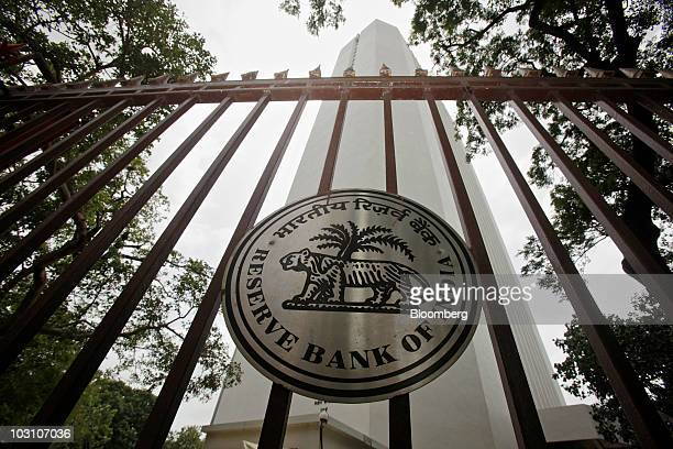 The Reserve Bank of India logo is displayed outside of the bank's headquarters in Mumbai India on Tuesday July 27 2010 India's central bank increased...