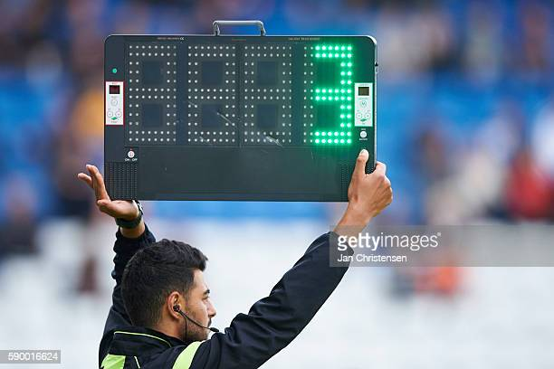 The reserve referee with timeboard/timetabel during he Danish Alka Superliga match between OB Odense and FC Nordsjalland at TREFOR Park on August 14...