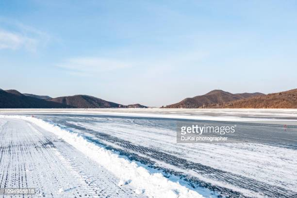 The reservoir snow ice road, China