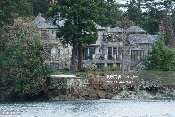 TOPSHOT The residence of Prince Harry and and his wife Meghan is seen in Deep Cove Neighborhood from a boat on the Saanich Inlet North Saanich...