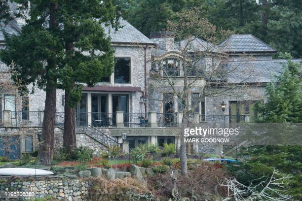 The residence of Prince Harry and and his wife Meghan is seen in Deep Cove Neighborhood from a boat on the Saanich Inlet North Saanich British...