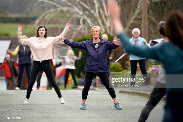 The residents of Springbourne in Frodsham Cheshire take part in their daily social distance dancing and fitness event led by resident Janet Woodcock...