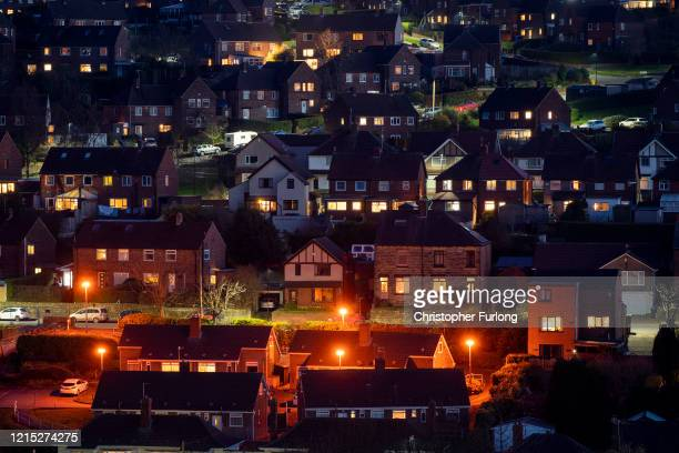 The residents of Stocksbridge near Sheffield spend their first Friday night at home under lockdown regulations during the Coronavirus pandemic on...