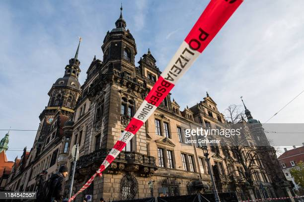 The Residenzschloss palace that houses the Gruenes Gewoelbe collection of treasures on November 25 2019 in Dresden Germany Thieves apparently after...