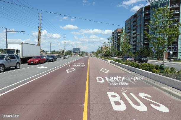 The residesign of Highway 7in Markham and Richmond Hill,features a central transit routes and outer bike lanes as well as many lanes of traffic. In...