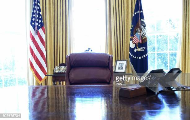 The Resolute desk as U.S. President Donald Trump and Israel Prime Minister Benjamin Netanyahu meet in the Oval Office of the White House March 5,...