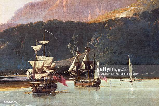 The Resolution and the Adventure in Matavai Bay Tahiti Society Islands during the second journey of James Cook between 1772 and 1775 painting by...