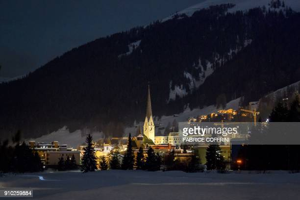The resort of Davos is seen on late January 25 2018 during the World Economic Forum annual meeting in Davos eastern Switzerland / AFP PHOTO / Fabrice...