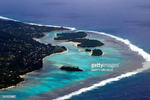 The resort region of Muri on the Eastern side of the Island of Rarotonga the largest island in the Cook Islands is viewed from the air on August 30...